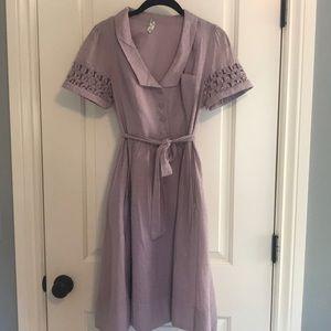 Maeve Tiny Windows Lilac flared skirt dress